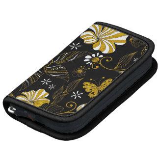 Fondo floral de oro del negro lindo del vintage planificadores