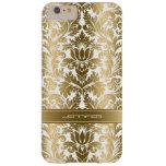 Fondo floral del blanco de los damascos 2 del oro funda de iPhone 6 plus barely there