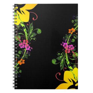 Fondo floral del hibisco hawaiano abstracto oscuro libros de apuntes