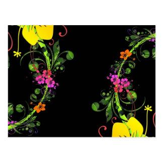 Fondo floral del hibisco hawaiano abstracto oscuro postal