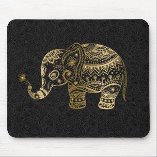 Fondo floral del negro del elefante del oro alfombrillas de raton