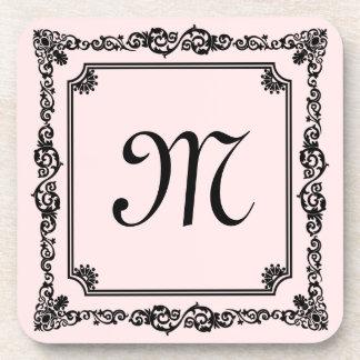 Fondo floral del rosa del marco del vintage negro posavaso