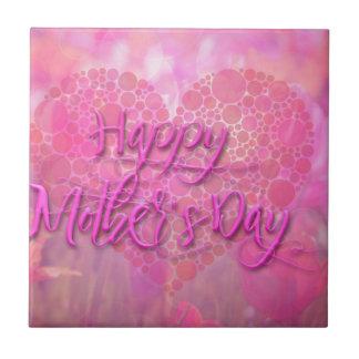 Fondo floral feliz del día de madres azulejo cuadrado pequeño