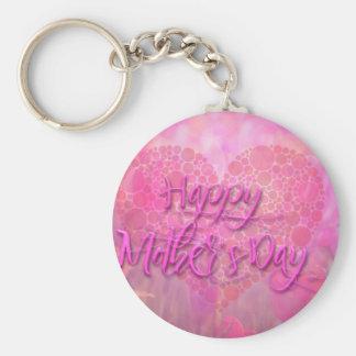 Fondo floral feliz del día de madres llavero redondo tipo pin