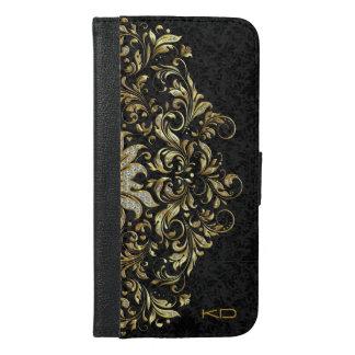 Fondo floral negro con oro y cordón del brillo