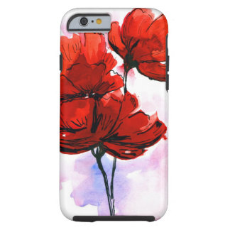 Fondo floral pintado extracto 2 funda de iPhone 6 tough