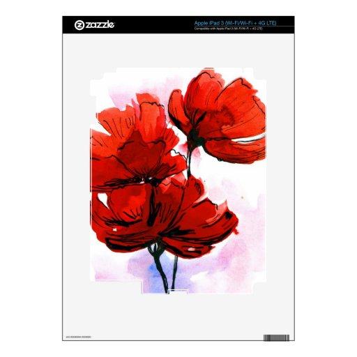 Fondo floral pintado extracto 2 pegatinas skins para iPad 3