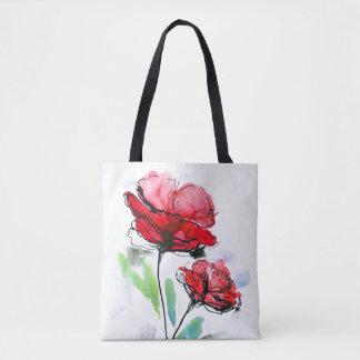 Fondo floral pintado extracto bolsa de tela