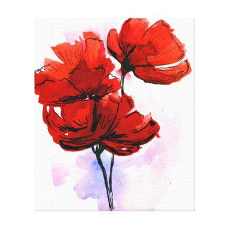 Fondo floral pintado extracto impresiones en lona estiradas