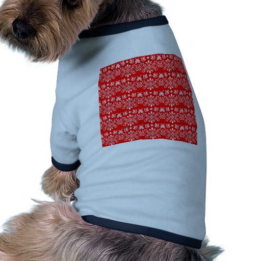 Fondo floral rojo festivo camiseta con mangas para perro