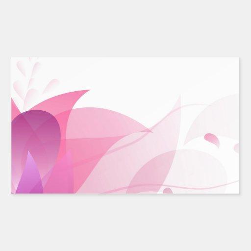 Fondo floral rosado abstracto pegatina rectangular