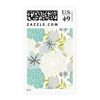 Fondo floral sellos postales