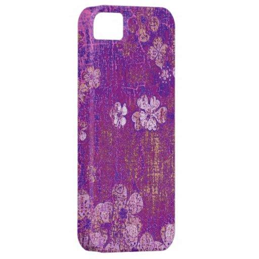 Fondo floral violeta de la pared del grunge del vi iPhone 5 Case-Mate cárcasas