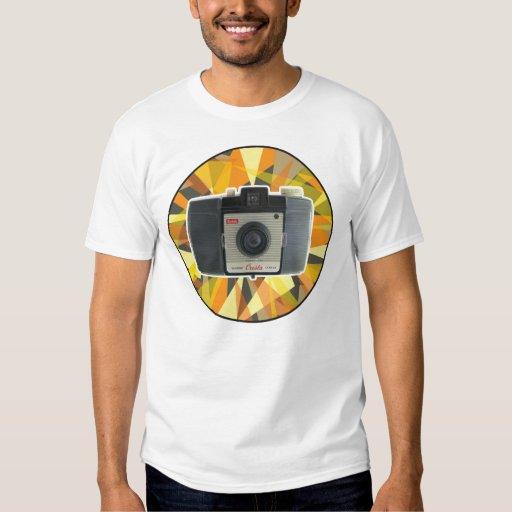 Fondo geométrico de la cámara del vintage de poleras