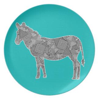 Fondo geométrico de la turquesa de la cebra del co plato