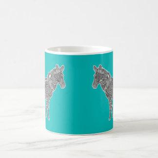 Fondo geométrico de la turquesa de la cebra del taza de café