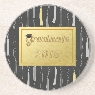 Fondo graduado 2015 de la borla del casquillo posavasos diseño
