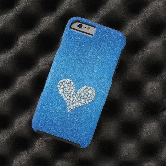 Fondo gráfico del brillo del corazón del diamante funda resistente iPhone 6