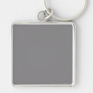 Fondo gris gris Titanium de la tendencia del color Llavero Cuadrado Plateado
