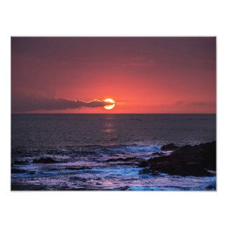 Fondo hawaiano tropical de la puesta del sol del o fotografias