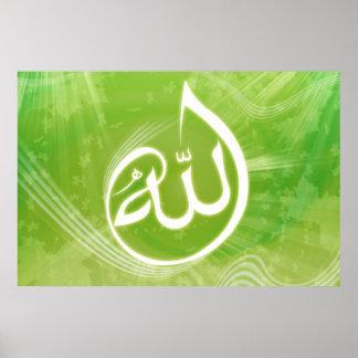 Fondo hermoso del poster de la caligrafía de Alá
