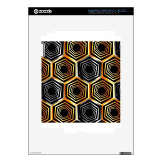 Fondo hexagonal de oro y de plata iPad 3 pegatina skin