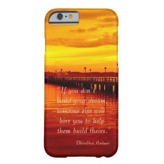 Fondo ideal de la puesta del sol de la cita de la funda para iPhone 6 barely there