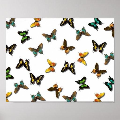 Fondo lindo de la mariposa póster