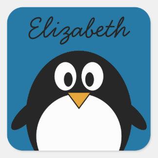fondo lindo del azul del pingüino del dibujo pegatina cuadradas personalizadas