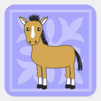 Fondo lindo del bonito del caballo del dibujo colcomanias cuadradas