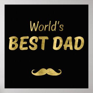 Fondo llano negro del papá el | del mundo del oro póster