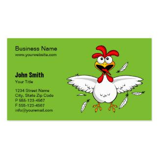 Fondo loco divertido del verde del pollo del tarjetas de visita
