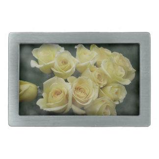 Fondo manchado ramo del rosa amarillo hebillas cinturon rectangulares