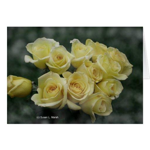 Fondo manchado ramo del rosa amarillo tarjetas