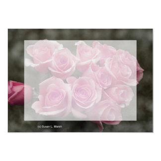 """fondo manchado ramo subió colorized rosa invitación 5"""" x 7"""""""