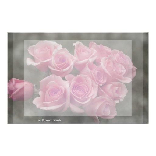 fondo manchado ramo subió colorized rosa papelería personalizada