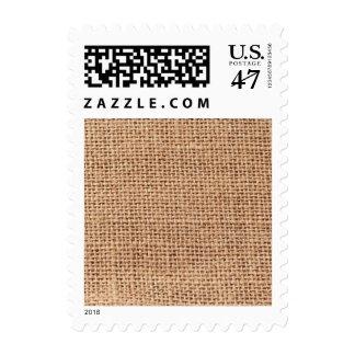 Fondo marrón claro del saco de la arpillera sello
