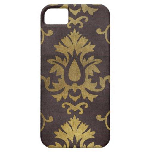 fondo marrón del modelo de los damascos del oro iPhone 5 fundas
