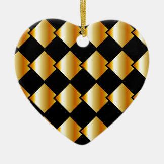 Fondo metálico de la teja adorno navideño de cerámica en forma de corazón