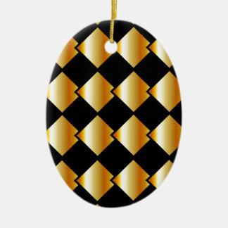 Fondo metálico de la teja adorno navideño ovalado de cerámica