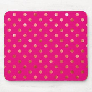 Fondo metálico del rosa del lunar de la hoja del tapetes de ratón