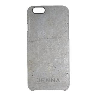Fondo metálico sucio de los tonos grises funda clearly™ deflector para iPhone 6 de uncommon