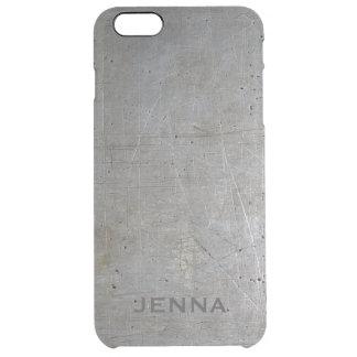 Fondo metálico sucio gris de la mirada funda clearly™ deflector para iPhone 6 plus de unc