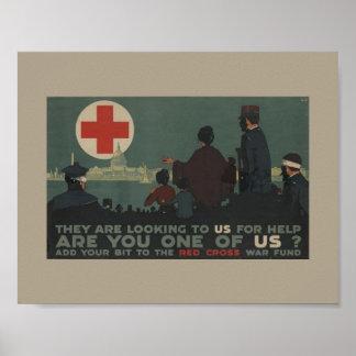Fondo militar de la guerra de la Cruz Roja de la Póster