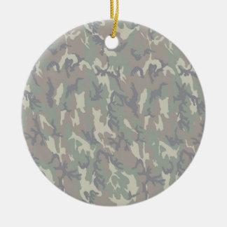 Fondo militar del camuflaje del bosque aligerado ornamento de navidad