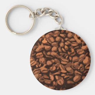 Fondo moderno de los granos de café llavero redondo tipo pin