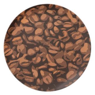 Fondo moderno de los granos de café platos de comidas
