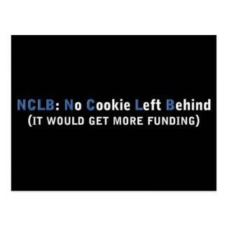 Fondo NCLB ninguna galleta dejada detrás Tarjeta Postal