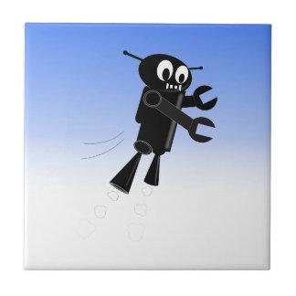 Fondo negro de cielo azul del robot del vuelo azulejo cuadrado pequeño