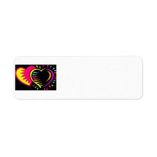 fondo negro de dos corazones del colorfull etiqueta de remitente